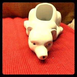 Vintage Polar Bear Ceramic Planter